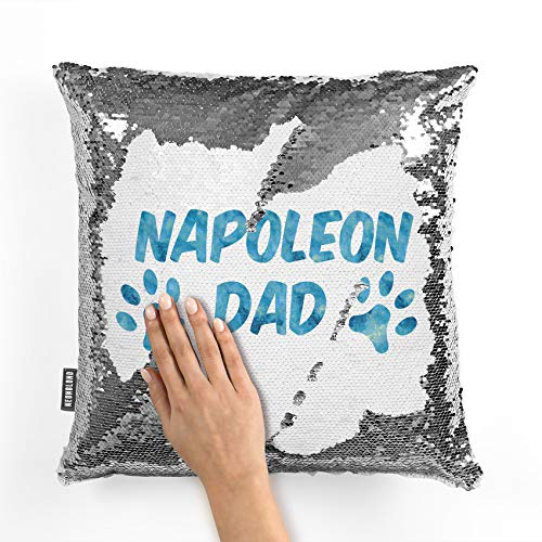 NEONBLOND Mermaid Pillow Cover Dog & Cat Dad Napoleon Reversible Sequin ()