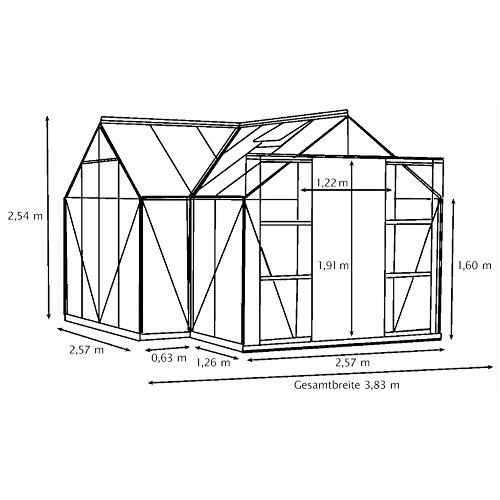 Alu-Gewächshaus Sirius ESG grün Wintergarten 13 m² Orangerie inkl ...