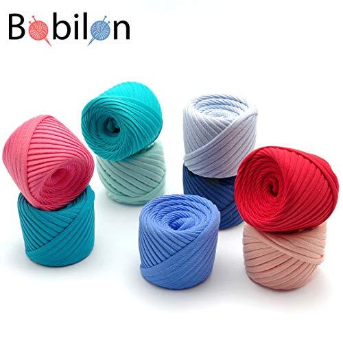 T-Shirt Yarn Fettuccini Zpagetti Set - 9 Balls Total of 196 Yards - Tshirt Yarn Kit for Crocheting - Ribbon Yarn 100% Cotton - Knitting Yarn Ball - T Yarn Organic - T-Yarn Vlady Set