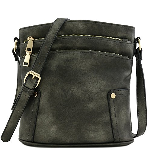 Triple Zip Pocket Medium Crossbody Bag (Black-Pearl)