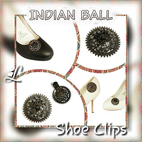 La Loria Damen 2 Schuhclips Indian Ball Trachten Schmuck, Schuhschmuck für Schuhe Schwarz
