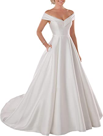 Amazon Com Lilyla Women S A Line Long Wedding Dress Sweetheart Neckline Plus Size Bridal Dresses For Bride Clothing