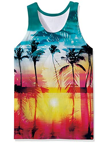 Belovecol Men's 3D Print Beach Sunset Coconut Tree Tank Tops Casual Cool Tees Sports Sleeveless Tee Shirts XL