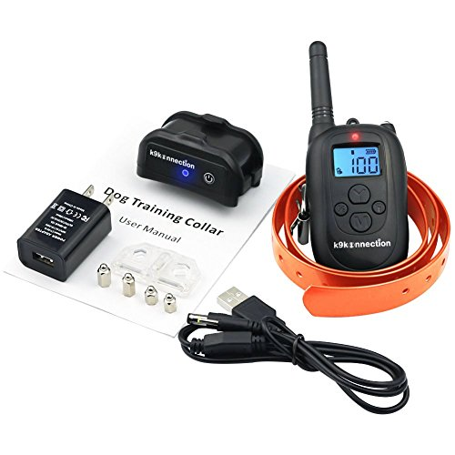 K9KONNECTION-Dog-Training-Collar-with-Remote-Waterproof-and-Rechargeable-Electronic-No-Bark-Shock-E-Collar-Fits-All-Size-Dogs-100-Levels-of-Beep-Vibration-Shock-330-Yards-Manual-Included