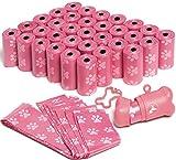 Oxgord PTPB-01-PK Bolsas para Recoger los Desechos de Mascotas con Dispensador y Correa Clip, 50 rollos (1000 bolsas), color rosa