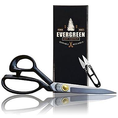 Sewing Scissors +Free Thread Snips - Heavy Duty Scissors Stronger Than Stainless Steel Scissors - Professional All Purpose Shears ; Fabric Scissors Office Scissors Sharp Tailor Dressmaker Craft Paper