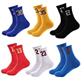 Lohascasa Men's Number Socks Colorful Sports Mid Calf Breathable Cushion Workout Hiking Running Gym Athletic Youth Basketball Crew Socks(Black White Blue Red Yellow 6 Pack)