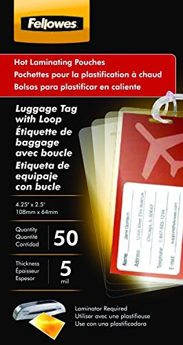 Fellowes Luggage Tag Pouch - Fellowes Hot Laminating Pouches Luggage ID Tag with Loop 5 mil 50 pack (52034