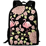 Mossey Raymond Fashion Office School Laptop Backpack Travel Daypack - Couple Flamingo Flower Black