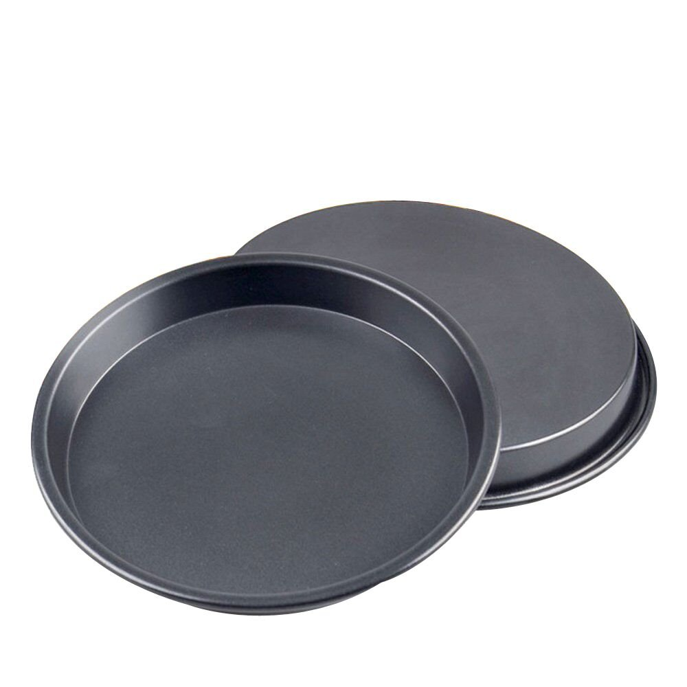 Kslong 2pcs Metal Pizza Plate For Oven Round Bake model Pizza Shop Diy Baking Tools Non-stick Cake Chassis Bakeware Pans(8inch)