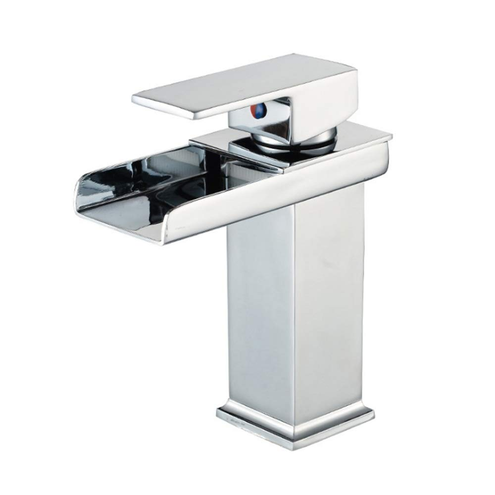 Waterfall Chrome Color Single Handle Faucet Deck Mount Lavatory Cold Hot Water Sink Faucet Undermount Kitchen Sink