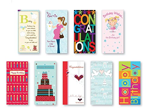 Handmade Assorted Embellished Gift Card and Money Holder Cards Greeting Cards Money Card for Birthday, Graduation, Baby Shower, Wedding