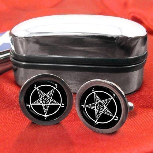 Satanic Pentagram Männer-Manschettenknöpfe mit Chrom-Geschenkbox Family Crests