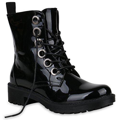 Stiefelparadies Damen Stiefeletten Worker Boots mit Blockabsatz Leicht Gefüttert Flandell Schwarz Metallic