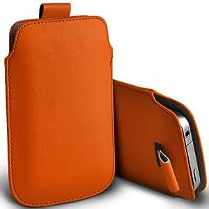 Samsung I9500 Galaxy S4 premium protección PU ficha de extracción Slip Cord En cubierta de la bolsa del bolsillo de la funda naranja por Spyrox
