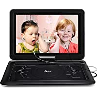 2018 Upgraded DR.J 14.1 inch 7 Hours Portable DVD Player with Build-in 6000mAh Rechargeable Battery, 270°Swivel Screen, 5.9 ft Car charger and Power supplier, SD Card Slot and USB Port, 2 x Earphones