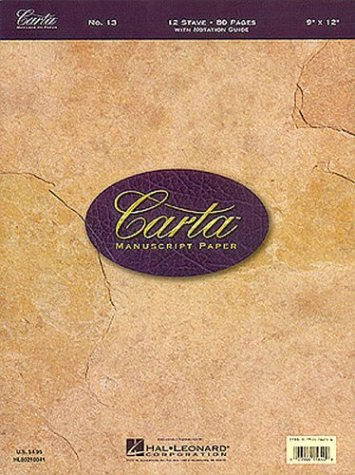No. 13: Carta 12 Stave Manuscript paper (80 pages with Notation Guide)