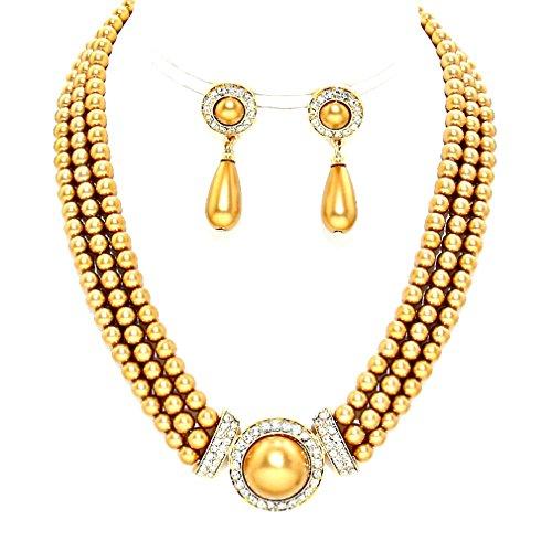 Golden Brown Earring (Statement Multi Layered Strands Golden Brown Pearl Crystal Elegant Necklace Earrings Set Gift Bijoux)