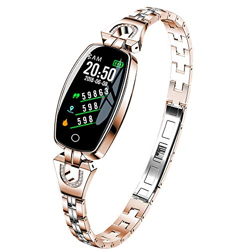 CQHY MALL Women Fashion Smart Sport Watches Bracelet Waterproof Health Tracker Bluetooth Fitness Trackers Activity Tracker Watch Multi-Function Watches-Heart Rate,Step,Calorie Counter ()
