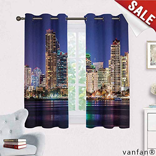 Apartment Decor Collection curtains for party decoration,Colorful Skyline San Diego at Night North San Diego Bay Boats Architecture Urban Picture curtains thermal insulated,Navy W72