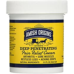 Amish Origins Greaseless Deep Penetrating Pain Relief Cream 3.5 Oz (pack of 2)