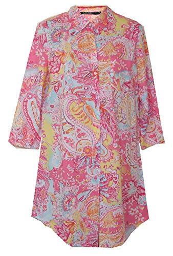 Ralph Lauren Paisley Splash Sleepshirt Nightgown (Paisley Splash Pink Yellow Aqua Orange Multi, X-Large)