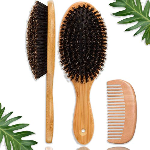 FunfulHome Boar Bristle Hair Brush + Travel Size Natural Wooden Detangler Comb for Women, Men, Kids with Dry, Normal,Fine Thin Hair- Add Shine & Improve Hair Texture- Eco Bamboo Detangling Hairbrushes