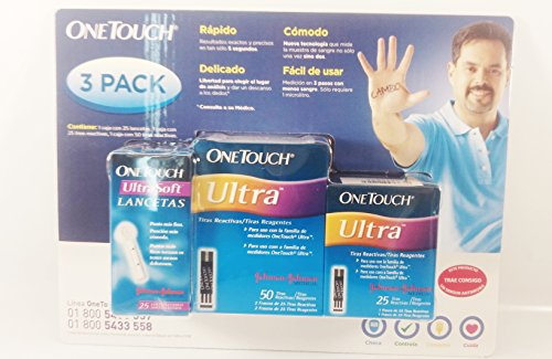 Pack of 75 One touch Ultra test strips and 25 Lancets