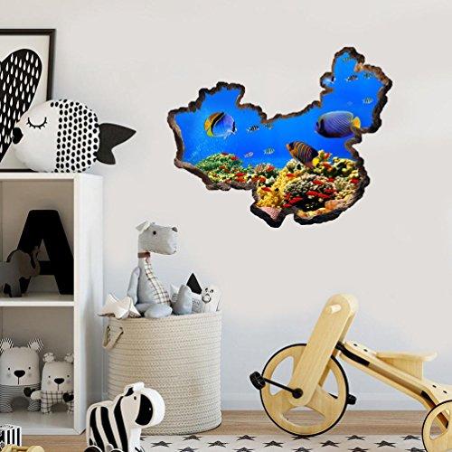 Rumas Removable China Map Wall Mural, Art Ocean World Wall Decal Decor, Kids' Room Decor, Wall Sticker Home Kindergarten Theme Restaurant ()