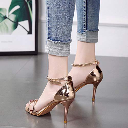 shoes Heels Golden High Thin Fashion Fashion Joker Spring 8Cm women's Heels Fresh Sandals Little GTVERNH wHSxOqZvEq