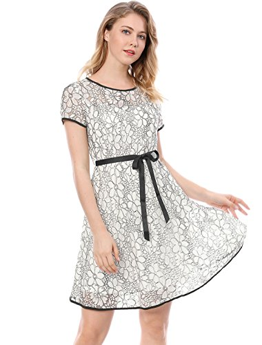 Dress White Waist Floral K Contrast color Women A line Allegra Lace Bi Self tie 7OTR6wq