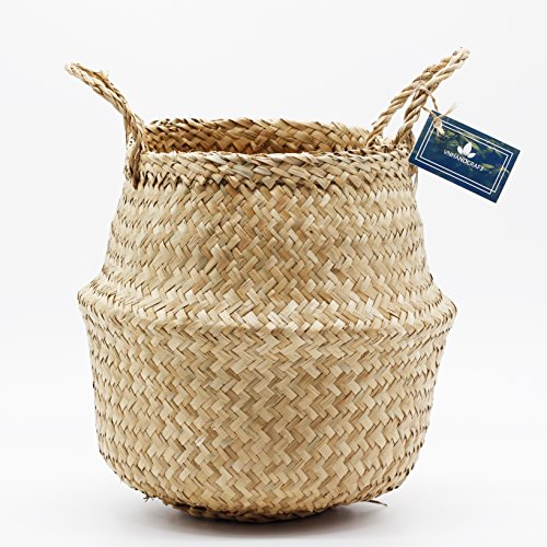 VNSea Natural Seagrass Belly Basket for Storage, Laundry, Picnic, Plant Pot Cover, and Woven Beach Bag (Medium) - Paper Hamper Set