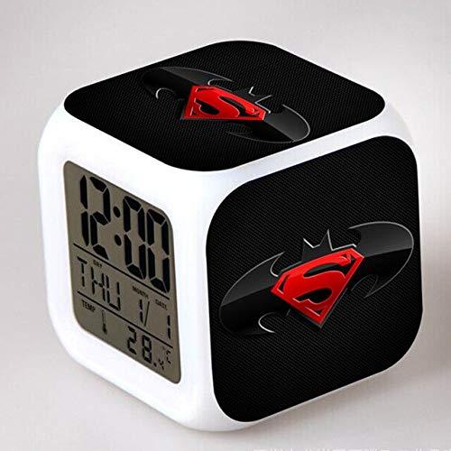(HOLLUK Super Heros Figurine Creative Led Clock Colorful Touch Night Bruce Wayne Figma Bat-Man Toys for Boys -Multicolor Complete Series)