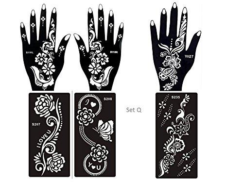 6 fogli Mehndi Tattoo Stencil mano Mehndi Tatuaggi all'hennè Set Q - Usa e getta - Per Tatuaggio all'henné, scintillio tatuaggio e airbrush tatuaggio Tie