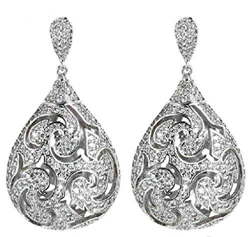 Beydodo 18k Gold Plated Women Earring (Stud Earrings) Hollow Three-Dimensional Water Drop Crystal White