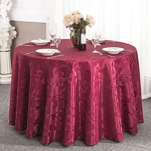 PQPQPQ Ground Scales of Dragon Jacquard tablecloths Round tablecloths Wedding Banquet of The Claret Hotel/Wine Red (Size: 200cm)