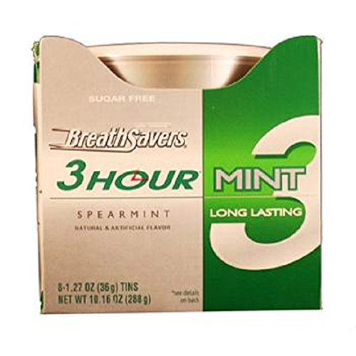 BREATH SAVERS 3HOUR MINT SPEARMINT Can 1.27 oz Each ( 8 in a Pack )