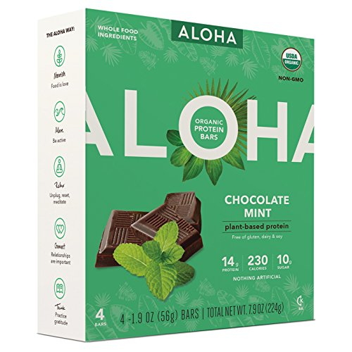 Aloha Organic Protein Bar Chocolate Mint7.6oz( 1.9oz x 4 bars)