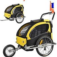 Veelar Children Double Bicycle Trailer Jogging Stroller Combo 2 in 1 Yellow/B...