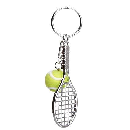 Llaveros Colgantes Decoraciones Mini Raqueta de Tenis Metal - Verde