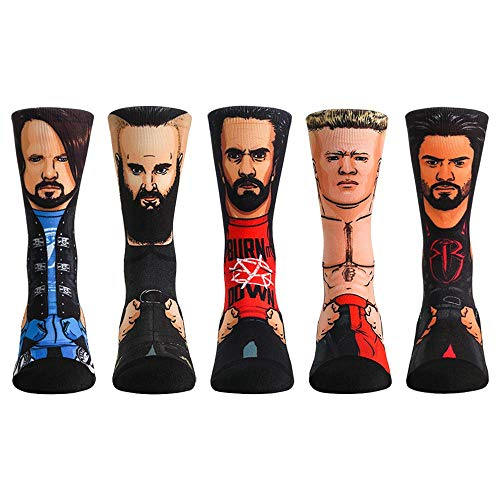 WWE Superstar Sock Packs by Rock 'Em (L/XL, WWE Superstars - 5 Pack - AJ Styles - Brock Lesnar - Roman Reigns - Seth Rollins - Braun Strowman) (Wwe Wrestlemania 2014 Brock Lesnar Vs Undertaker)