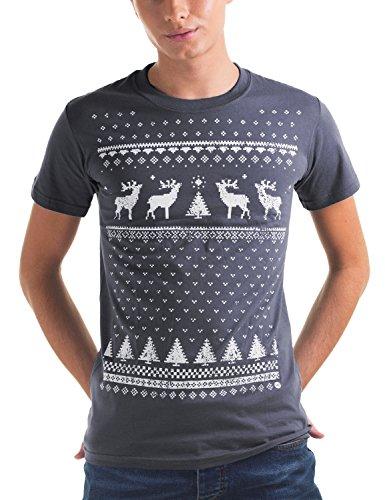Weihnachten Rentier Pullover Stil T-Shirt - Männer - Aschgrau