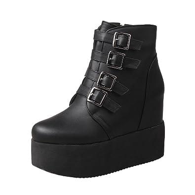 3b87c3e80a Carolbar Women's Multi Buckle Zip Retro Fashion Platform Wedge Heel Short  Boots (4.5, Black