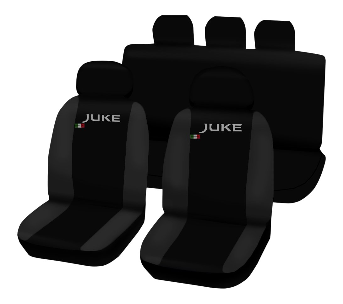 Lupex Shop - Fundas Juke_N.GS bicolores, para Asientos de Coche, Color Negro y Gris Oscuro