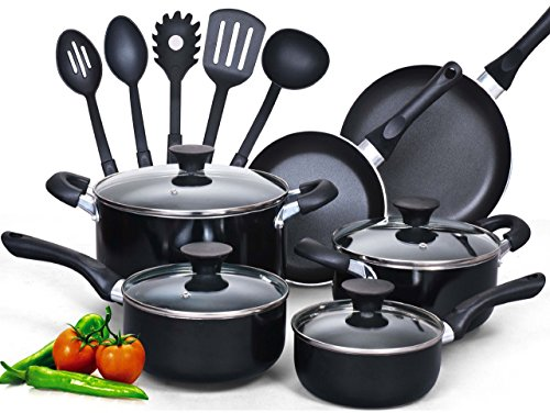 Cook N Home 15-Piece Nonstick Stay Cool Handle Cookware Set, Black (Renewed)