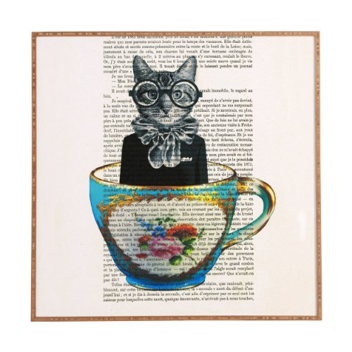 Deny Designs Coco de Paris Cat in a Cup Framed Wall Art, Medium