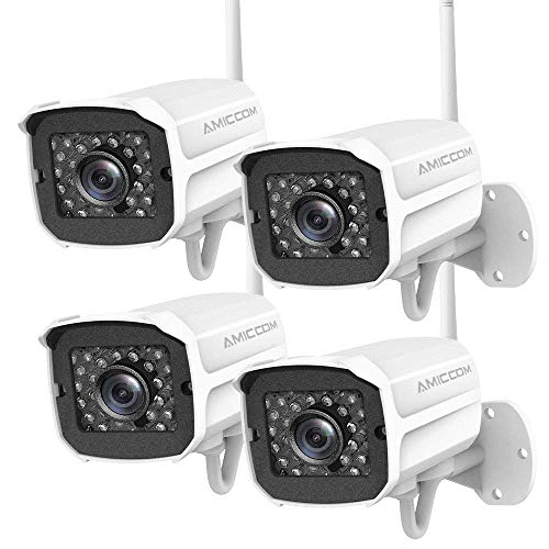 Outdoor Security Camera, 1080P WiFi Camera Wireless Surveillance Cameras, IP Camera with Two-Way Audio, IP66 Waterproof, Night Vision, Motion Detection, Activity Alert, Deterrent Alarm (4-Pack)