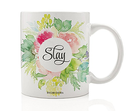 Slay Coffee Mug, Pretty Floral Gifts for Her, 11oz Ceramic Cup Sayings Killing It Impressive Girl Birthday Christmas Funny Present Idea for Student Sister Friend Bestie Coworker Mom Digibuddha - Presents Grad College
