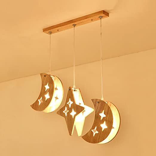 LED Madera Colgantes de HJXJXJX Lámparas Habitación para PikZuXTO