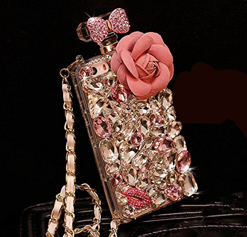 (iPhone7 Plus Queen Perfume Bottle Shell, OMORRO New Patrician 3D Fine Sparkling Handmade Charm Diamond Flower Bowknot with Sling Lucency Protect Phone Cover Case for iPhone 7Plus Pink Flower)